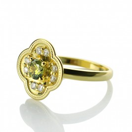 Blossoming Engagement Ring Engraved Birthstone 18ct Gold Plated