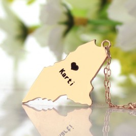Custom Maine State Shaped Necklaces With Heart  Name Rose Gold