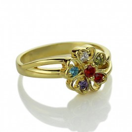 Birthstone Flower Promise Ring with Name 18ct Gold Plated