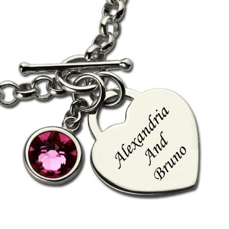 personalised charm bracelet with birthstone name sterling