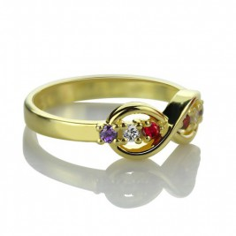 18ct Gold Plated Infinity Promise Rings with Birthstone