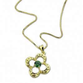 Clover Lucky Charm Necklace with Birthstone 18ct Gold Plated