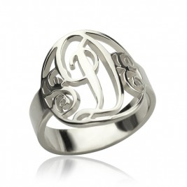 Personalised Rings Monogram Initial Sterling Silver