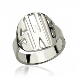 Personalised Cut Out Block Monogram Ring Sterling Silver