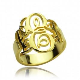 Interlocking Three Initials Monogram Ring 18ct Gold Plated