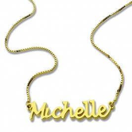 HandWriting Name Necklace 18ct Gold Plate