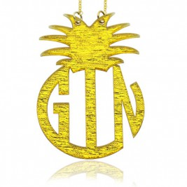 Personalised Acrylic Block Monogram Pineapple Necklace