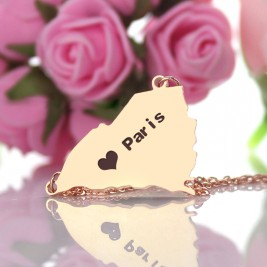 South Carolina State Shaped Necklaces With Heart  Name Rose Gold