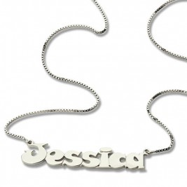 Kids Comic Name Necklace Sterling Silver