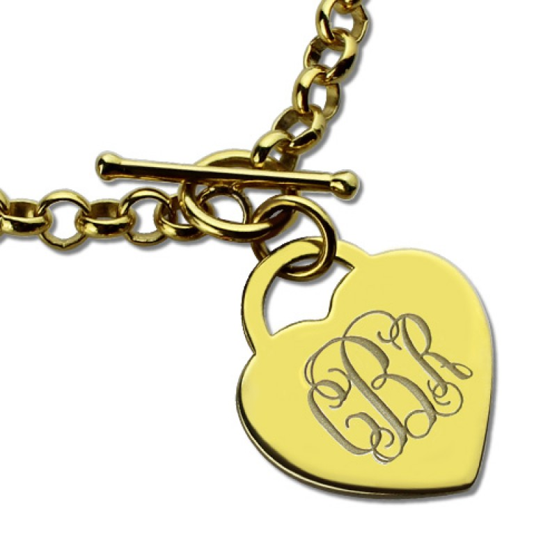 Initial Charms For Bracelets: Heart Monogram Initial Charm Bracelets In 18ct Gold Plated