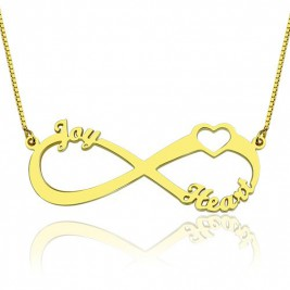 Heart Infinity Necklace 1-3 Names 18ct Gold Plated
