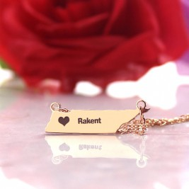 Custom Tennessee State Shaped Necklaces With Heart  Name Rose Gold