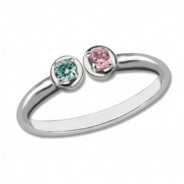 2 Stone Dual Birthstone Cuff Ring Sterling Silver