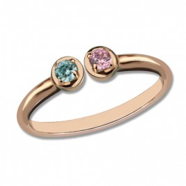 Dual Birthstone Ring 18ct Rose Gold Plated Silver