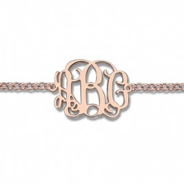 Rose Gold Plated Silver Monogram Bracelet