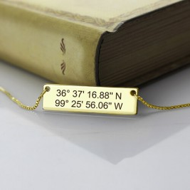 GPS Map Nautical Coordinates Necklace 18ct Gold Plated