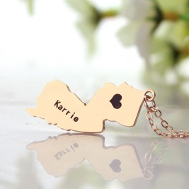 Custom New Jersey State Shaped Necklaces With Heart  Name Rose Gold