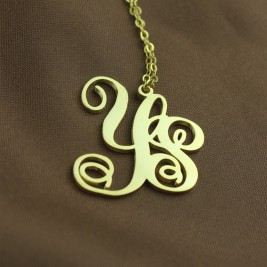 Personalised 18ct Gold Plated Vine Font 2 Initial Monogram Necklace