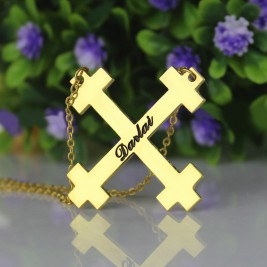 Gold Plated Silver Julian Cross Name Necklaces Troubadour Cross