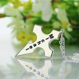 Silver Conical Shape Cross Name Necklace