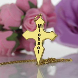 Gold Plated 925 Silver Conical Shape Cross Name Necklace