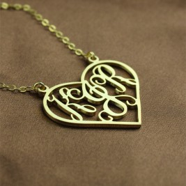 Solid Gold Initial Monogram Personalised Heart Necklace