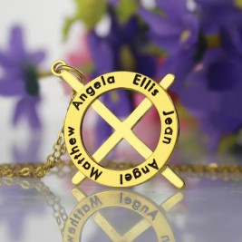 Gold Plated Silver Latin Style Circle Cross Necklace with Any Names