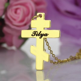Gold Plated 925 Silver Othodox Cross Engraved Name Necklace