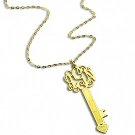 18ct Gold Plated Key Monogram Initial Necklace