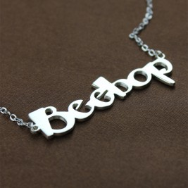 Solid White Gold Personalised Beetle font Letter Name Necklace