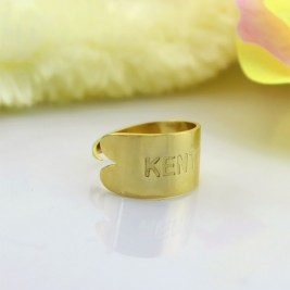 18ct Gold Plated Name Engraved Cuff Rings