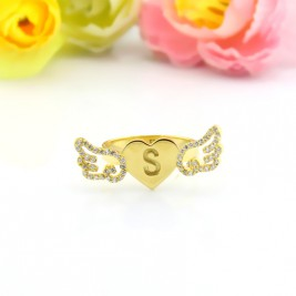 Angel Wings Heart Ring with Birthstone  Initial 18ct Gold Plated