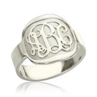 Engraved Designs Monogram Ring Sterling Silver