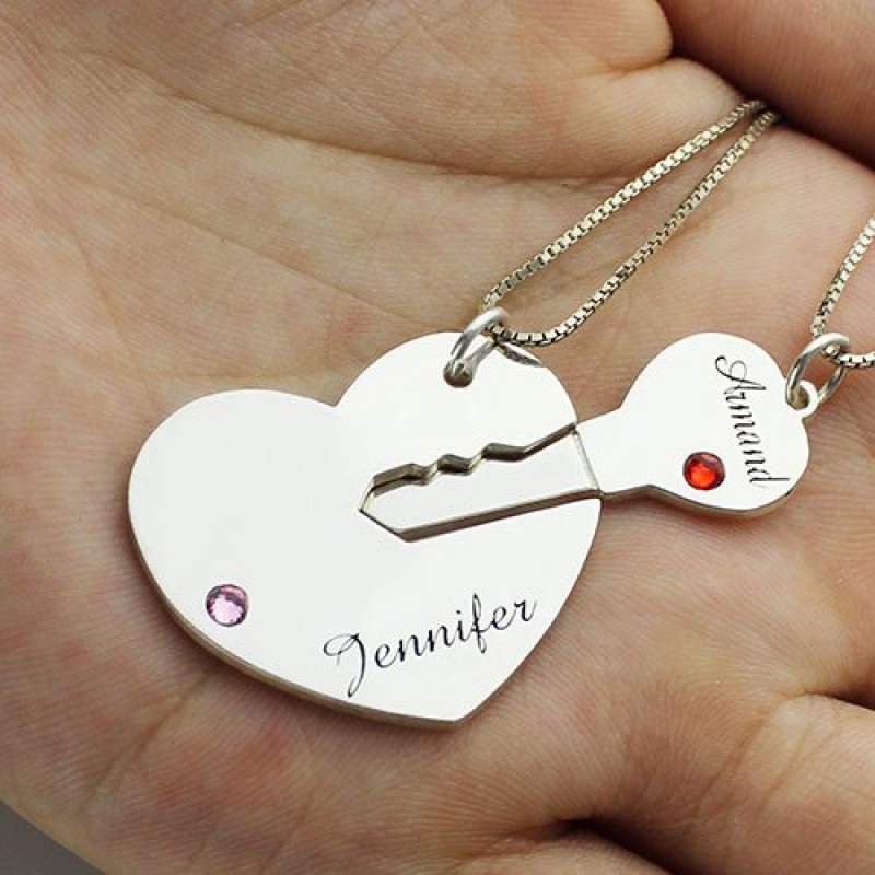 Bespoke Classic Key To My Heart Name Pendant Set For Couple