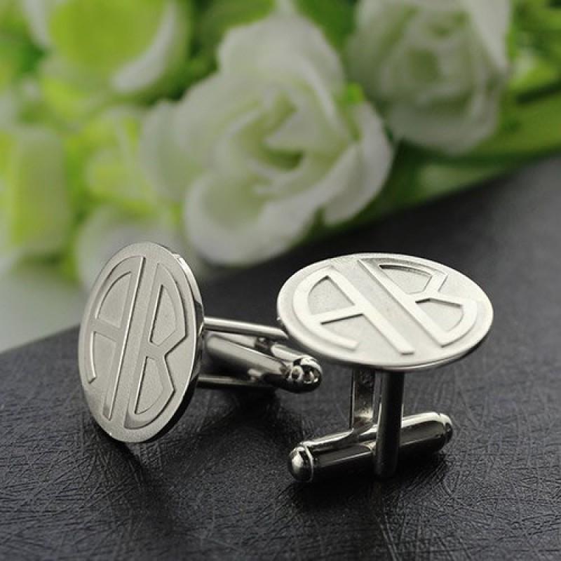 cufflinks for men block monogrammed sterling silver