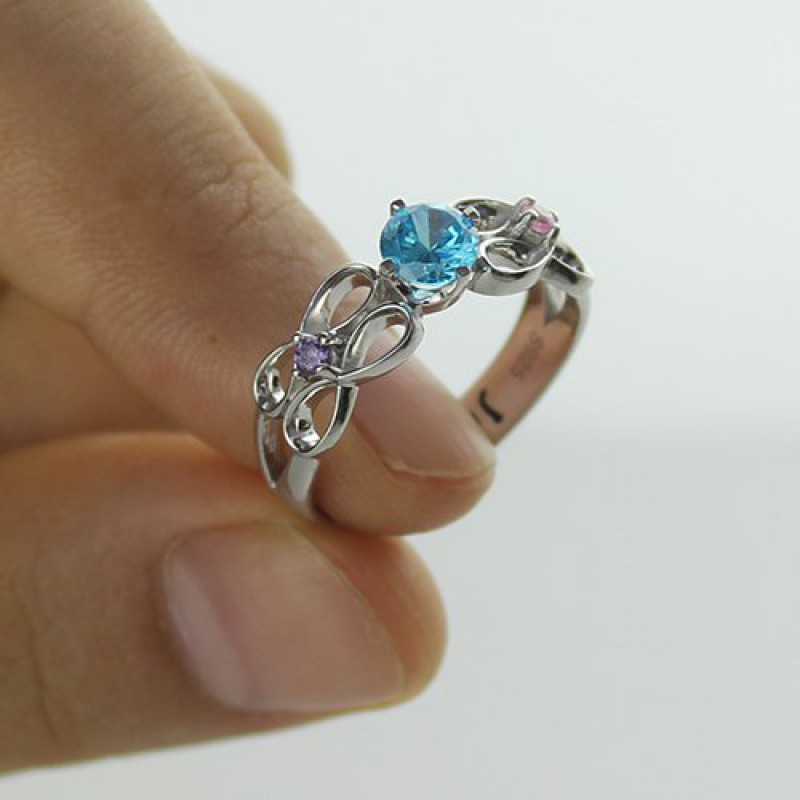 customised infinity promise ring with name birthstone for. Black Bedroom Furniture Sets. Home Design Ideas