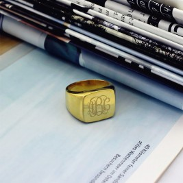 18ct Gold Plated Fashion Monogram Initial Ring