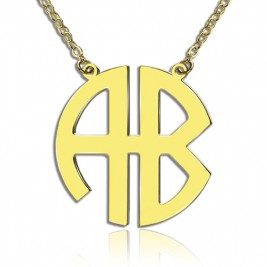18ct Gold Plated 2 Letters Capital Monogram Necklace