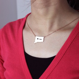 Connecticut Connecticut State Shaped Necklaces With Heart  Name Rose Gold
