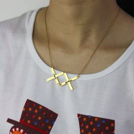Gold Plated 925 Silver Greece Double Cross Name Necklace