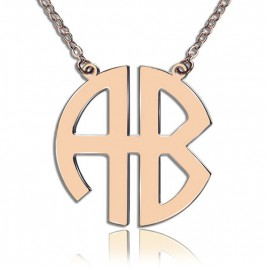 Two Initial Block Monogram Pendant Necklace Solid Rose Gold