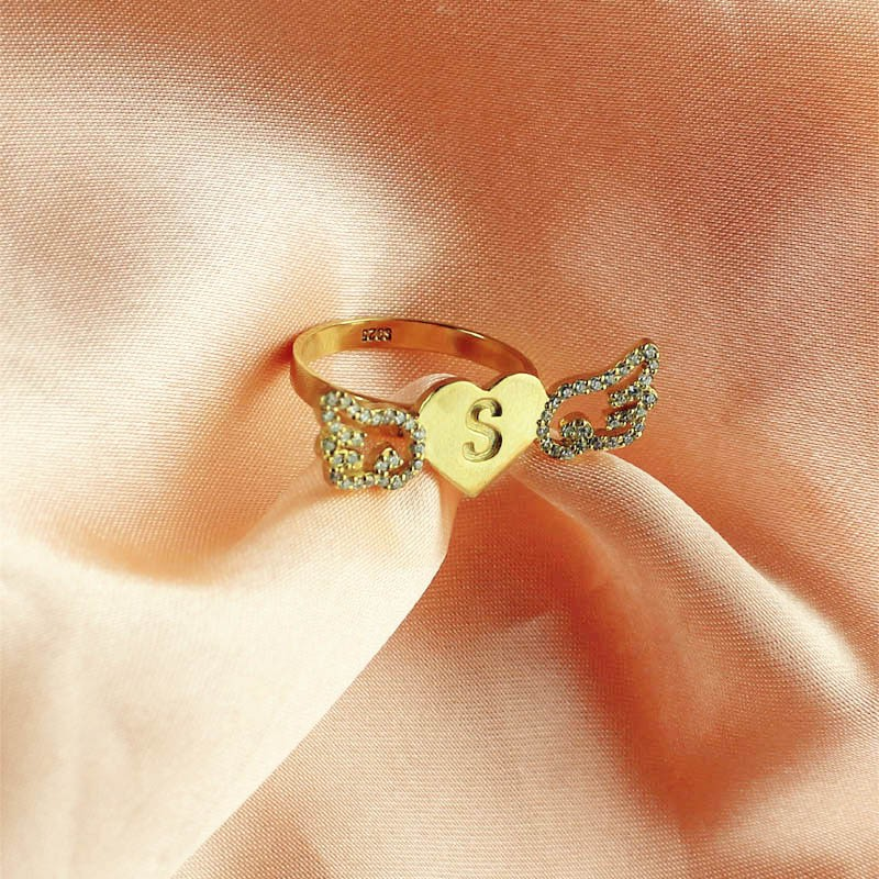 Angel Wings Heart Ring With Birthstone Initial 18ct Gold