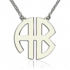 Personailzed Silver Two Initial Block Monogram Pendant
