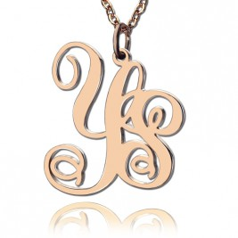 Personalised 18ct Rose Gold Plated Vine Font 2 Initial Monogram Necklace