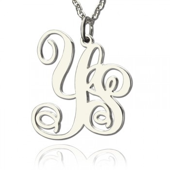Personalised Solid White Gold Vine Font 2 Initial Monogram Necklace