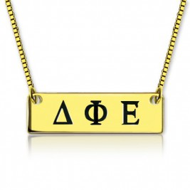 Personalised Greek Letter Sorority Bar Necklace 18ct Gold Plated