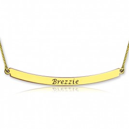 Personalised 18ct Gold Plated Curved Bar Necklace