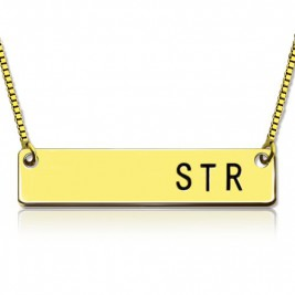 Personalised Initial Bar Necklace 18ct Gold Plated