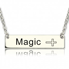 Nameplate Bar Necklace with Icons Sterling Silver