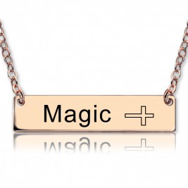 Engraved Name Bar Necklace with Icons 18ct Rose Gold Plated
